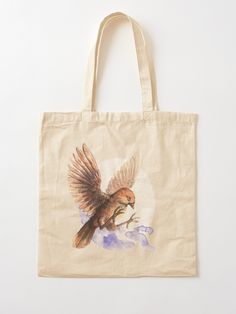 Tote Bag with a Sparrow. A cute little bird. Adorable and lovely. A nice watercolor illustration of bird. Printed Tote Bags, Cotton Tote Bags, Reusable Tote Bags, Canvas Prints, Art Prints, Cute Birds, Watercolor Illustration, Sell Your Art, Digital Prints