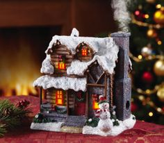 Christmas Decor Lighted House Log Cabin Smoking Chimney Snowman Battery Operated