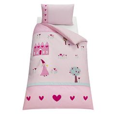 Buy little home at John Lewis Princess Duvet Cover and Pillowcase Set, Single Online at johnlewis.com Backrest Pillow, Little Houses, Duvet Cover Sets, John Lewis, Toddler Bed, Pillow Cases, New Homes, Nursery, Pillows