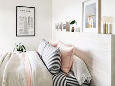 AURA Maison linen in Pastel Pink, Umbrella Stripe sheets in Smoke. @acatr