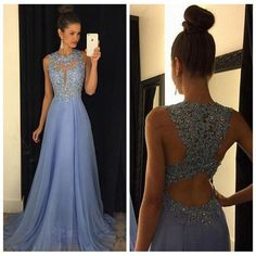Lavender Lace High Neck Backless Long Evening Prom Dresses,Open Back Chiffon Prom Gowns Formal Women Dress LD043