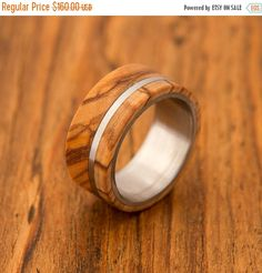 olive wood ring titanium ring band mens ring by aboutjewelry