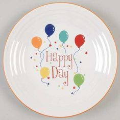 Happy Birthday Fiesta - Homer Laughlin Happy Birthday at Replacements, Ltd Pottery Painting, Ceramic Painting, Fiesta Kitchen, Rainbow Kitchen, Color Me Mine, Birthday Plate, Paint Your Own Pottery, Hand Painted Wine Glasses, Homer Laughlin