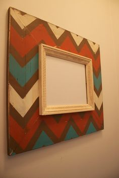 Mod Chevron Distressed Wood Picture Frame ANY Three Colors 8x10 Opening
