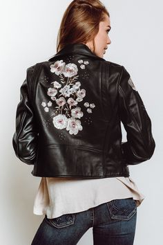 Rebecca Minkoff Rebecca Minkoff Wes Embroidered Leather Moto Jacket in Black