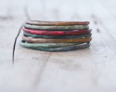 Stacking Skinny Rustic Patina Rings FOUR Stacking by amywaltz, $36.00