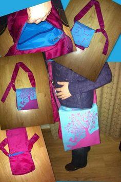 Babywearing bag, record bag style with ring adjustable long straps. Made from Kokadi Erna in wonderland wrap scrap and deep pink taffetta. Www.facebook.com/slibgy.woo