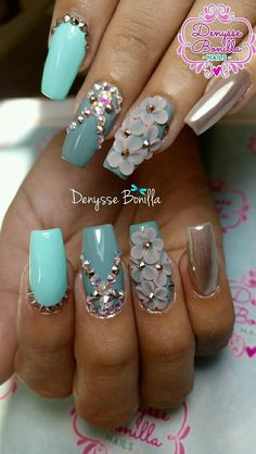 Hottest Trends for Acrylic Nail Shapes Dimond Nails, Gem Nails, Bling Nails, Cute Acrylic Nails, Cute Nails, Pretty Nails, 3d Nail Designs, Acrylic Nail Designs, 3d Nail Art