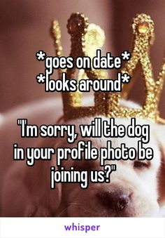 "*goes on date* *looks around*  ""I'm sorry, will the dog in your profile photo be joining us?"""
