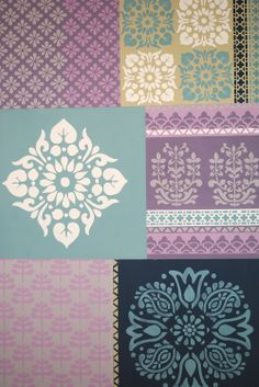 A selection of stencils from Nicolette Tabram Designs painted in Annie sloan Chalk Paint