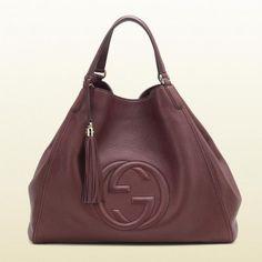 282308 A7m0g 6029 Gucci Soho Bordeaux Schultertasche aus Leder Gucci Damen Handtaschen