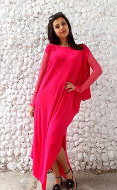 Maxi Oversize Dress / Plus Size Maxi Dress / Asymmetrical by Teyxo, $79.00