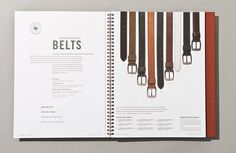 Great cataloge design for a luxury mens clothier. Beautiful design. Even the belts look interesting!