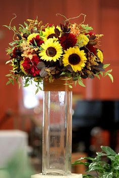 tall fall centerpieces | Fancier tall flower arrangements -