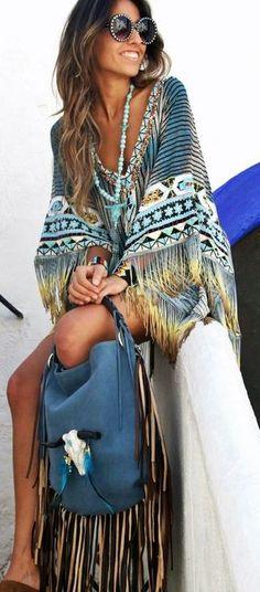 boho style. #fringe bag. #kimono