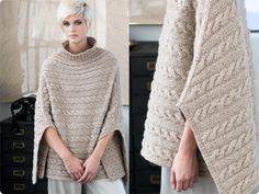 Cool pattern knitted poncho