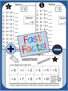 FAST FACTS: Addition and Subtraction Quizzes, Facts to 20   Packet includes…