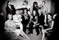 Giorgio Armani, at right, surrounded by his devotees. Seated: Lauren Hutton, Glenn Close, Sophia Loren, Isabelle Huppert, and Hilary Swank. Standing: Leonardo DiCaprio, Cate Blanchett, Tina Turner, and Zhang Ziyi. Photographed at the celebration of the designer's 40th anniversary at his Milan headquarters.