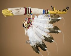 "Hand Carved Vintage Lakota Talking Stick 22"" -Eagle  (ts107)"