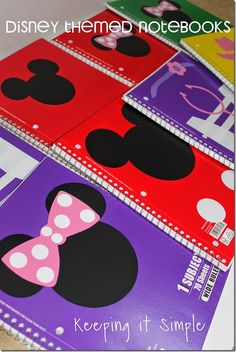 DIY Disney themed notebooks created with your Silhouette and Vinyl from Keeping it Simple--for signatures! Mickey Mouse Classroom, Disney Classroom, New Classroom, Mickey Mouse Clubhouse, Classroom Themes, Classroom Tools, Preschool Classroom, Classroom Organization, Disney Diy