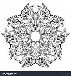 Decorative pattern in oriental style. Free Adult Coloring, Adult Coloring Book Pages, Printable Adult Coloring Pages, Flower Coloring Pages, Mandala Coloring Pages, Free Coloring Pages, Coloring Books, Henna Tatoo, Henna Mehndi