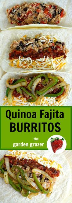 Fajita Burritos One of our favorite meals and freezer-friendly! Black bean quinoa fajita burritos (vegan)One of our favorite meals and freezer-friendly! Mexican Food Recipes, Whole Food Recipes, Vegetarian Recipes, Cooking Recipes, Healthy Recipes, Vegetarian Fajitas, Vegan Quinoa Recipes, Vegetarian Burrito, Dinner Recipes