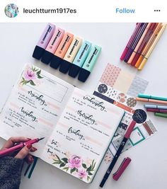 Beautiful bullet journal spreads using pastel highlighter pens