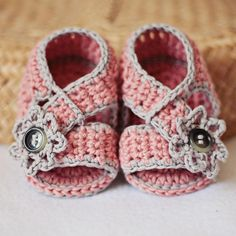 Baby Booties - Diagonal Strap Sandals pattern on Craftsy.com