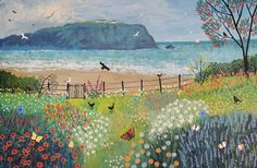 16 x 24 inch canvas print of seascape, birds, flowers and butterflies from an acrylic original painting 'Garden Beside the Sea' by Jo Grundy Canvas Artwork, Canvas Prints, Art Prints, Art Et Illustration, Garden Painting, Inspiration Art, Naive Art, Oeuvre D'art, Landscape Paintings