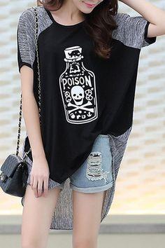 $10.09 Chic Scoop Neck Short Sleeve Plus Size Bottle Print Spliced T-Shirt For Women