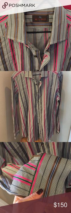 Men's Etro button down. LIKE NEW!! From Neimans ;) Men's Etro button down. LIKE NEW!! From Neimans ;) black , brown, Green, brown, Periwinkle. Needs to be steamed Etro Shirts Dress Shirts