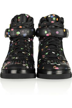 17c6c045cbc Givenchy Tyson high-top sneakers in confetti-print black leather. Leather High  Tops