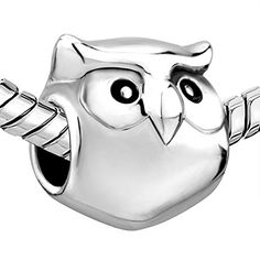 Silver Plated Pugster Cute Owl Animal Bead Fits Pandora Charms Bracelet