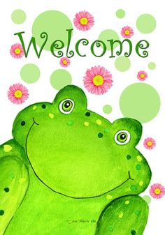 custom decor flag welcome frog