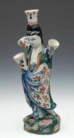 Dutch Delft polychrome flower holder in the shape of the Eastern goddess  Guanyin  Height 41,5 cm. Made around 1710-1720. Koninklijke Musea voor Kunst en Geschiedenis Brussel. Jeroen PM Hartgers