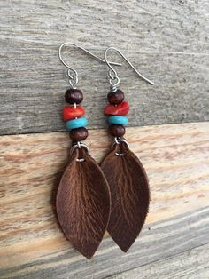 d88bc0841f2b23 Leather Earrings - Southwestern Style Earthy Bohemian Dangle Leaf Earrings  in Rustic Brown Leather