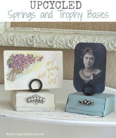 Upcycled Trophy Bases, Rusty Springs, and Rhinestones by MySalvagedTreasures.com
