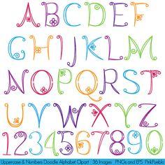 Gekritzel-Alphabet, Hand gezeichneten Font, Großbuchstaben und Zahlen - kommerziellen und persönlichen Gebrauch