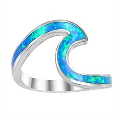Sz Charm Wave Ocean Beach Blue Fire Opal Wedding Band Ring Women Gifts - Wave Ring - Ideas of Wave Ring - 3 The post Sz Charm Wave Ocean Beach Blue Fire Opal Wedding Band Ring Women Gifts appeared first on Awesome Jewelry. Opal Wedding Rings, Silver Wedding Jewelry, Black Rings, Wedding Ring Bands, Silver Rings, Band Rings Women, Wave Ring, Opal Jewelry