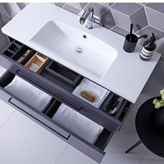 The Roper Rhodes Scheme Matt Carbon Wall Mounted Vanity Unit is available with a choice of basin & handles and features a sleek matt finish, ideal for the modern bathroom.