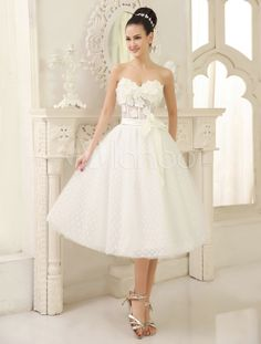 0b82caae96d High Quality Ivory Sweetheart Neck Tea-Length Flower Embellishment Tulle Wedding  Dress For Bride with. Milanoo