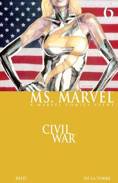 Marvel enlists in the Civil War! Having advocated on behalf of the registered superheroes, Ms. Marvel takes a position training new heroes. Ms Marvel, Captain Marvel, Marvel Avengers, Marvel Comic Books, Marvel Movies, Marvel Entertainment, Power Girl, Comic Book Covers, My Character