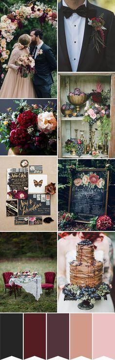 Hochzeitsfarben - Dunkelrot, Schokoladenbraun, Dunkelgrau und Nude