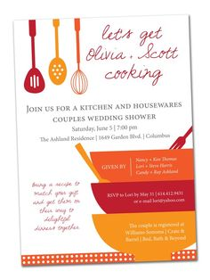 PrintableDIY Modern Cooking Utensils Bridal Shower Invitation