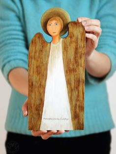 Wooden angel, handmade decoration, unique gift for baptism Wooden Angel, Handmade Decorations, Unique Gifts, Angels, Original Gifts, Angel, Handmade Ornaments