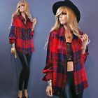 Vtg 80s 100% Silk ELLEN TRACY Punk Glam SCOTCH TARTAN PLAID Dress Shirt Blouse