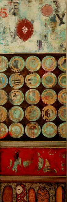 """""""Five Times a Charm"""", mixed media on canvas, by Jill Ricci. Deb Ellis/Lisa Beerntsen When I first saw this, I thought it was a textile. Art Painting, Artist Inspiration, Encaustic Art, Painting, Collage Art Mixed Media, Art, Collage Art, Abstract, Altered Art"""