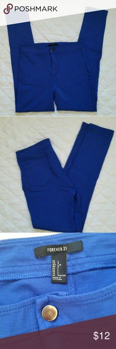 """BOGO Blue """"Treggings"""" Treggings = trouser leggings. Skinny leg, soft abx stretchy, 28.5 inseam. Excellent condition.   Buy any item listed as BOGO and get a second BOGO item for free. Just bundle the two and offer half of asking price and I will accept. You may also select one BOGO item with each bundle of two or more. Please leave a note in the comments so I know which one to include with your bundle. Forever 21 Pants"""