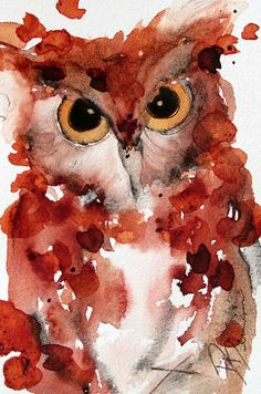 Beautiful watercolor owl painting. I like the colors too.