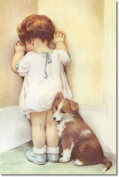 Bessie Pease Gutmann - Mama Thought Bessie Needed to be Taught a Lesson so She Told Her to Stand in the Corner. She Wasn?t Really Very Angry Though and Gave Bessie a Reprieve After Only Five Minutes. Poster Bessie Pease Gutmann, Collie Dog, Pencil Art, Grandparents, Cute Kids, Paint Colors, Corgi, Little Girls, Crossstitch